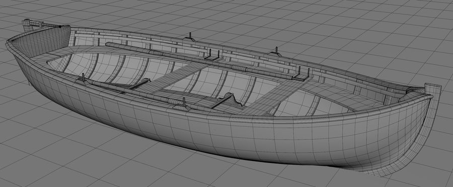 Fisherman Old Boat royalty-free 3d model - Preview no. 5