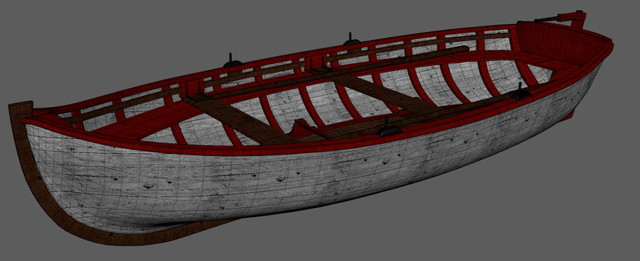 Fisherman Old Boat royalty-free 3d model - Preview no. 8