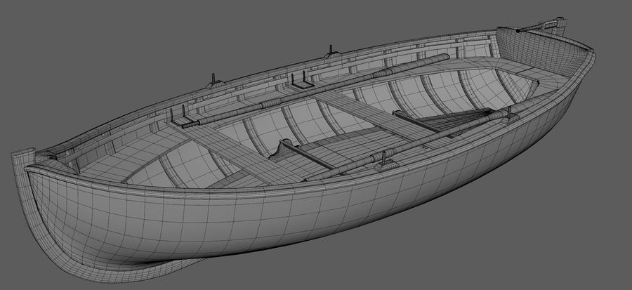 Fisherman Old Boat royalty-free 3d model - Preview no. 6