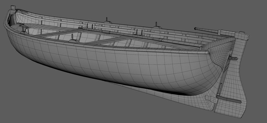 Fisherman Old Boat royalty-free 3d model - Preview no. 7