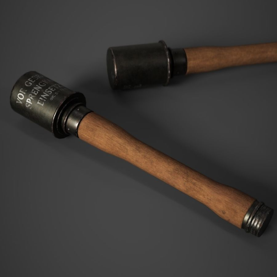 M24 Stick Grenade Stielhandgranate royalty-free 3d model - Preview no. 6