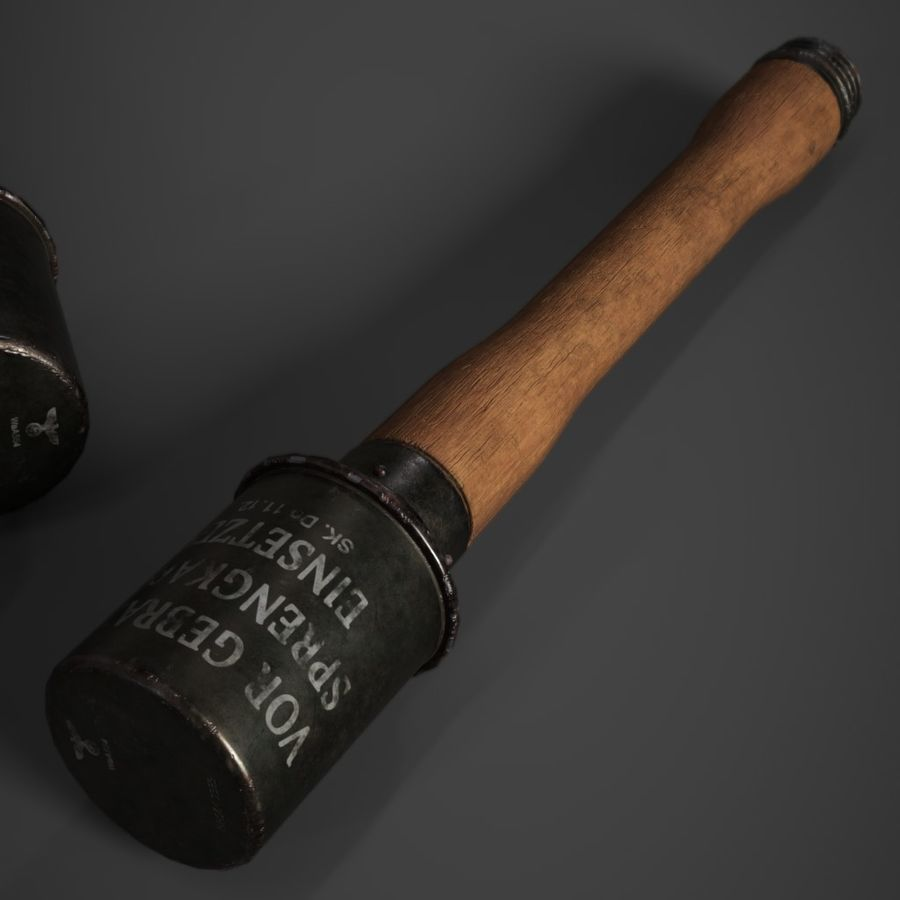 M24 Stick Grenade Stielhandgranate royalty-free 3d model - Preview no. 1