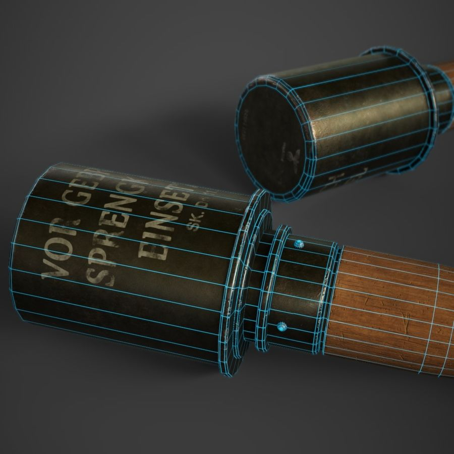 M24 Stick Grenade Stielhandgranate royalty-free 3d model - Preview no. 10