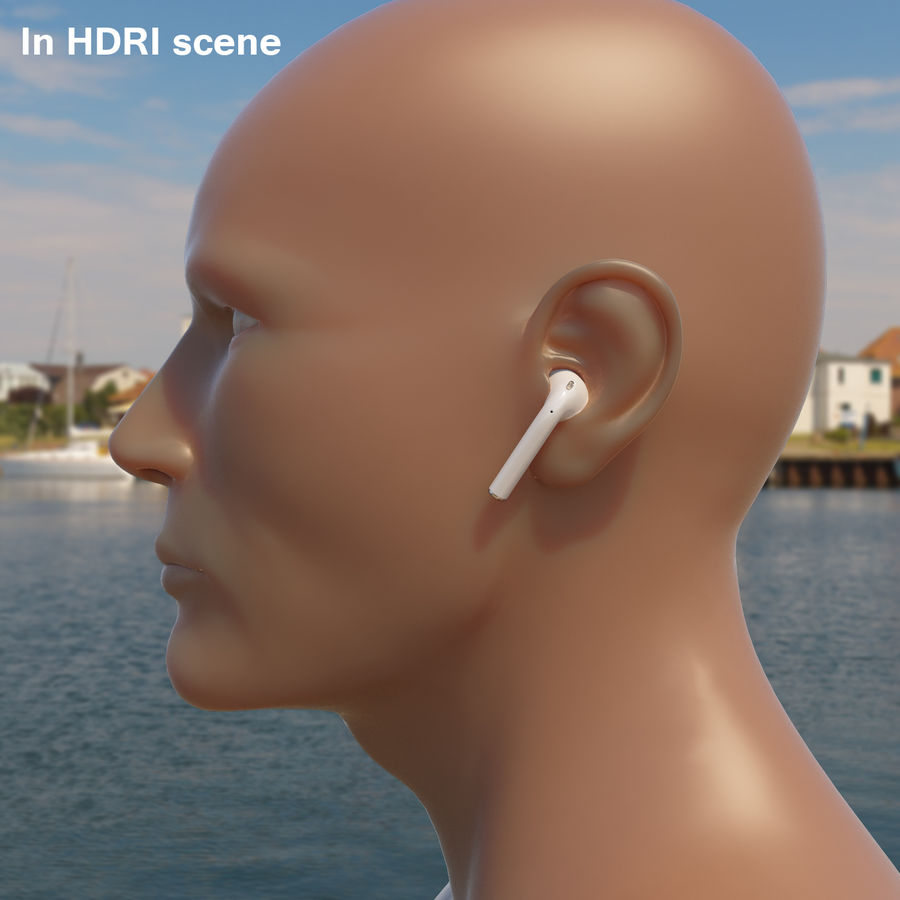 Apple AirPods wireless bluetooth earphones royalty-free 3d model - Preview no. 11