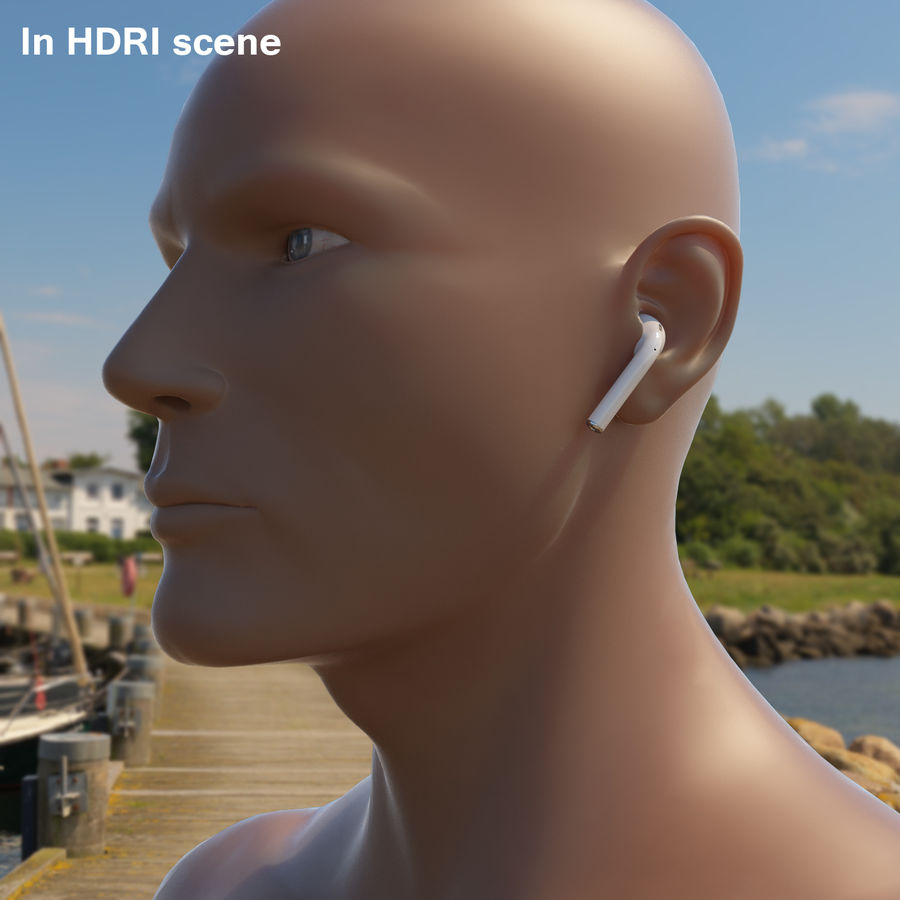 Apple AirPods wireless bluetooth earphones royalty-free 3d model - Preview no. 10