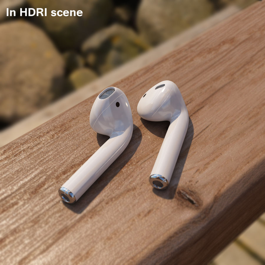 Apple AirPods wireless bluetooth earphones royalty-free 3d model - Preview no. 9