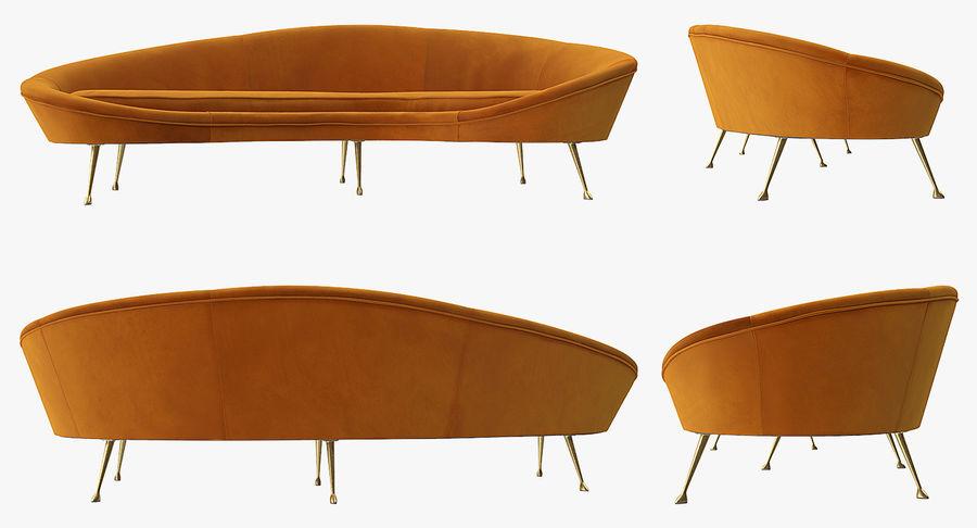 Sofá Curvado Estilo Vintage Amarillo royalty-free modelo 3d - Preview no. 9