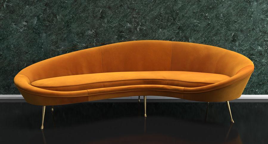 Sofá Curvado Estilo Vintage Amarillo royalty-free modelo 3d - Preview no. 3