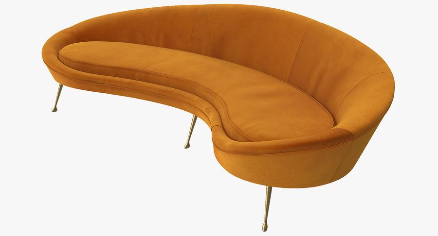 Sofá Curvado Estilo Vintage Amarillo royalty-free modelo 3d - Preview no. 2