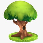 Cartoon Oak Tree 3d model