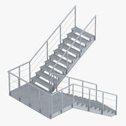 Industrial Staircase Landing Style 3d model