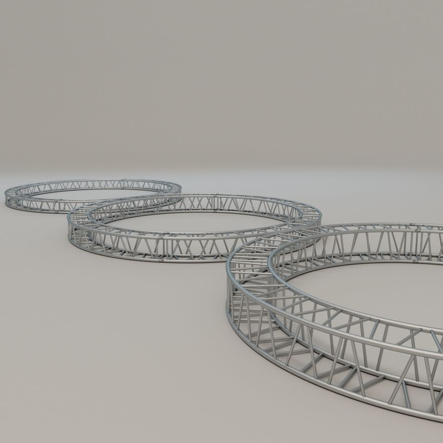Square Circular Truss Set R200 royalty-free 3d model - Preview no. 3