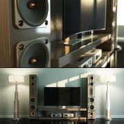 Home Cinema Loudspeaker andHi-Fi Set with Floor Lamps 3d model