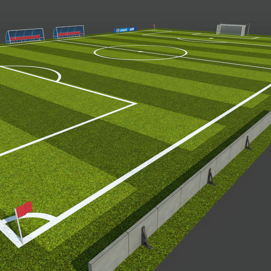Soccer Pitch 2 royalty-free 3d model - Preview no. 3