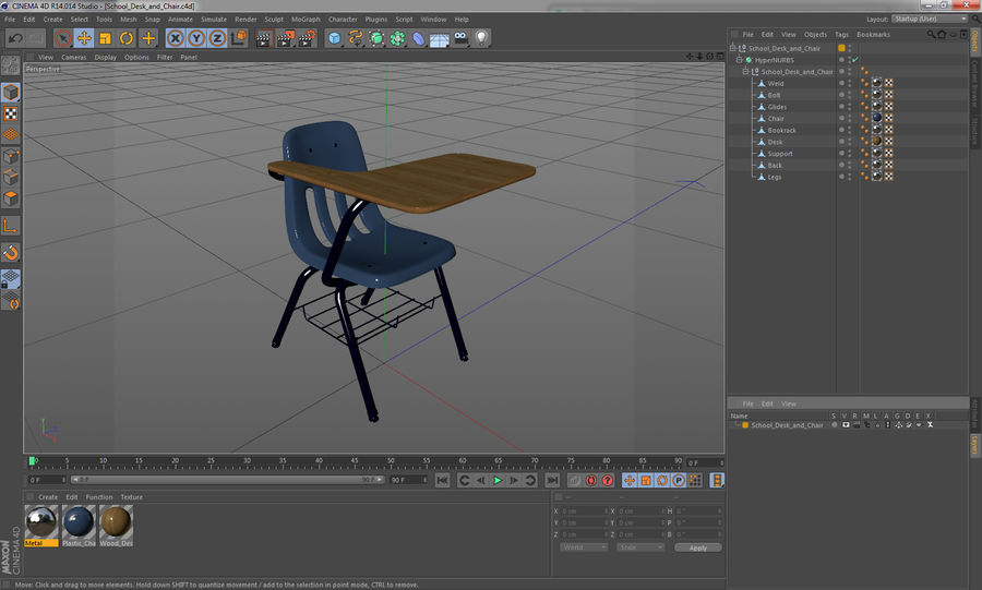 Banco e sedia della scuola royalty-free 3d model - Preview no. 14