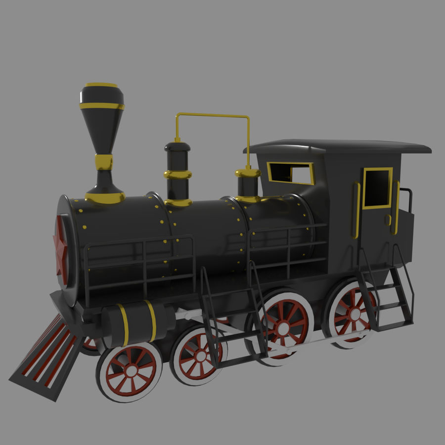 Steam Locomotive royalty-free 3d model - Preview no. 4