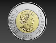2 Dollars Canadian Coin 3d model