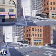 Zestaw budynków miejskich i dróg 3d model