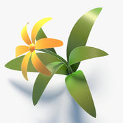 Flor de Low Poly dos desenhos animados 3d model