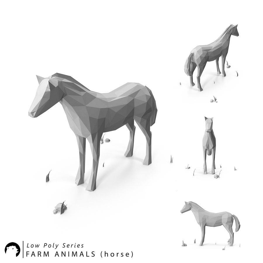 Djur med låg poly (häst) royalty-free 3d model - Preview no. 1