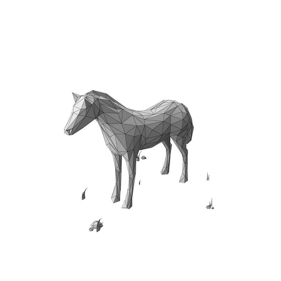Djur med låg poly (häst) royalty-free 3d model - Preview no. 7