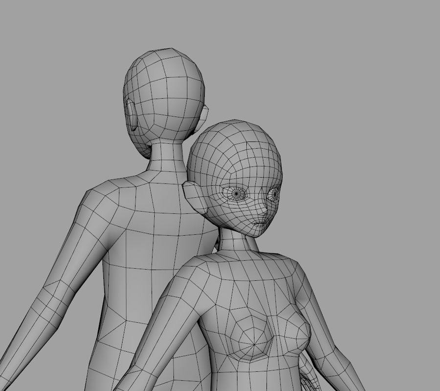Anime Base LowPolygon royalty-free 3d model - Preview no. 1
