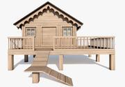 나무 동물 오두막 3d model