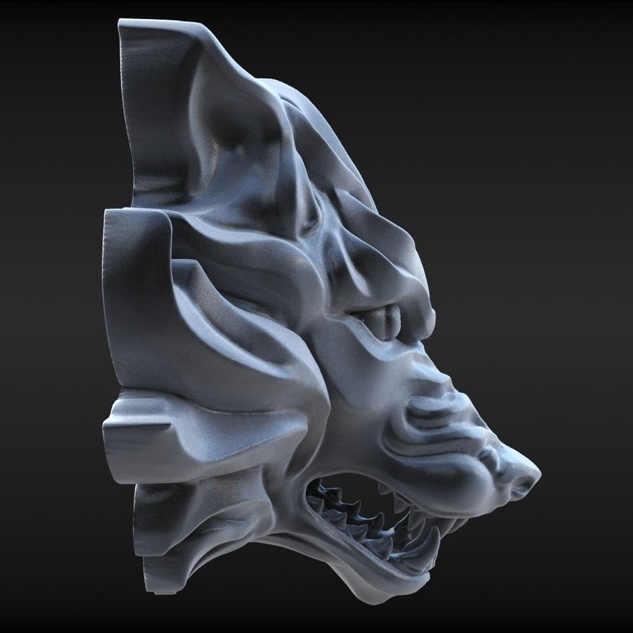 Wolf Bust royalty-free 3d model - Preview no. 5