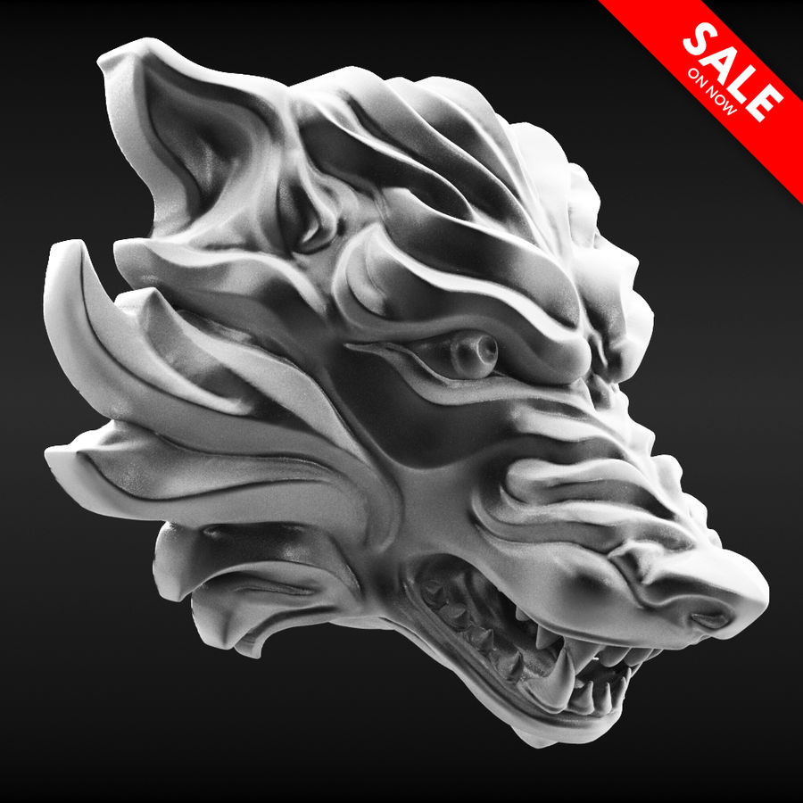 Wolf Bust royalty-free 3d model - Preview no. 1
