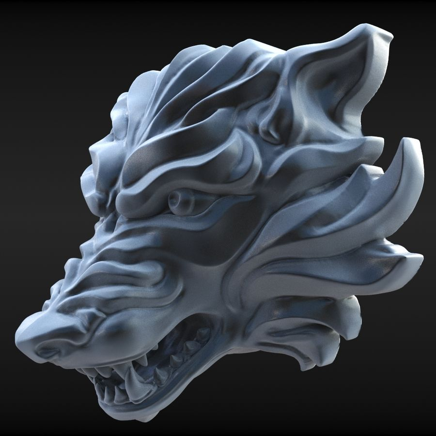 Wolf Bust royalty-free 3d model - Preview no. 4