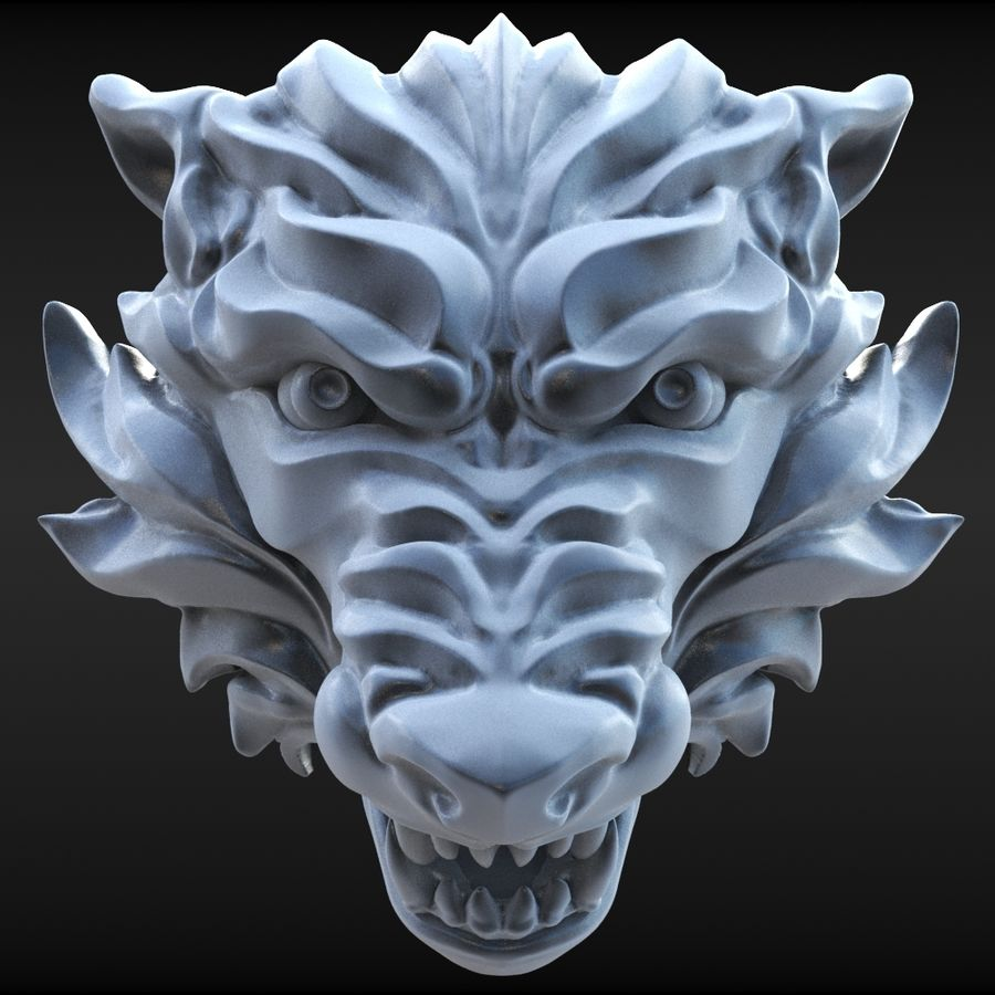 Wolf Bust royalty-free 3d model - Preview no. 3