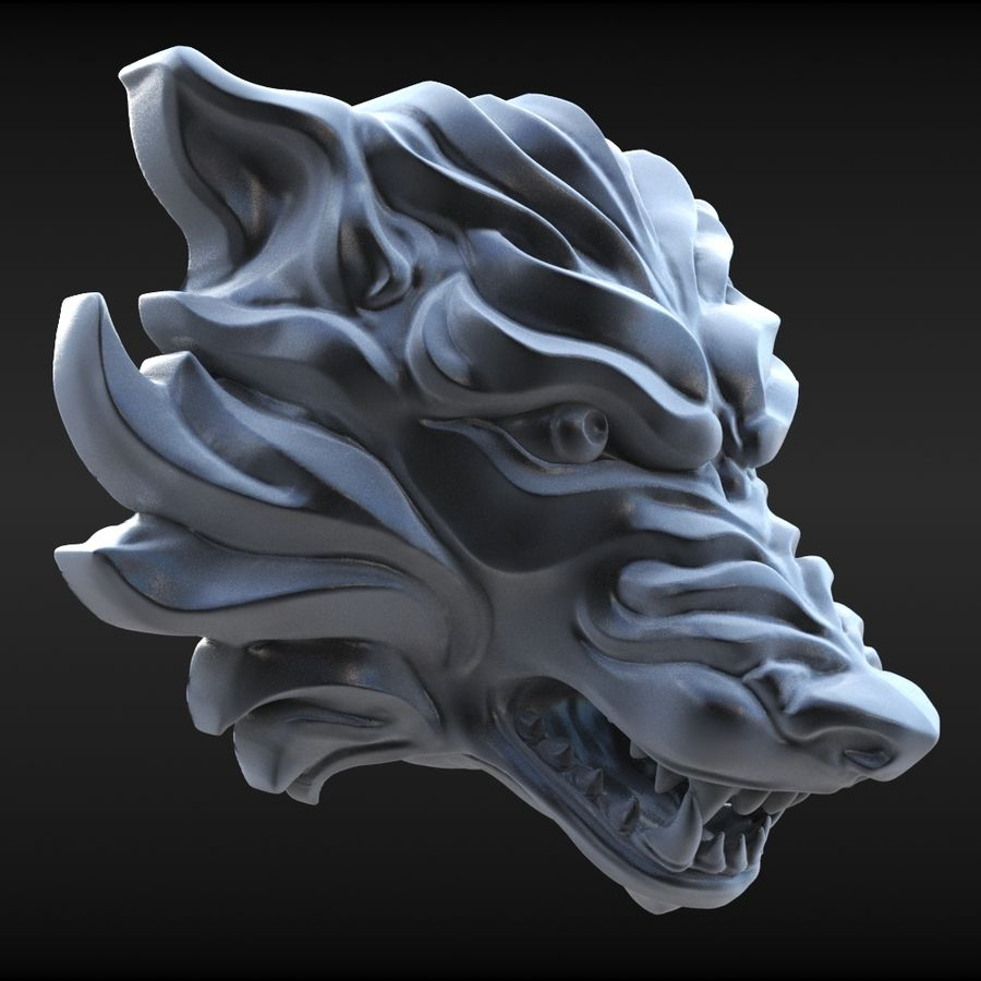 Wolf Bust royalty-free 3d model - Preview no. 2