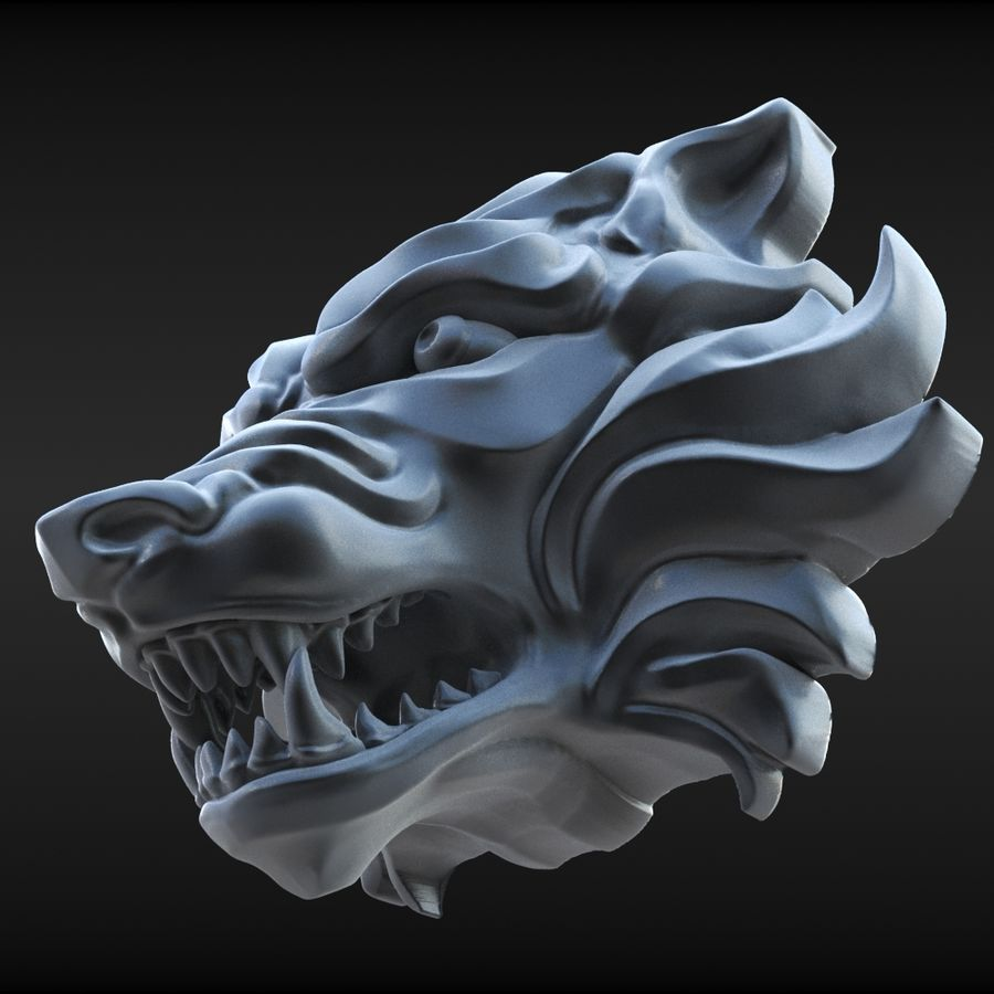 Wolf Bust royalty-free 3d model - Preview no. 9