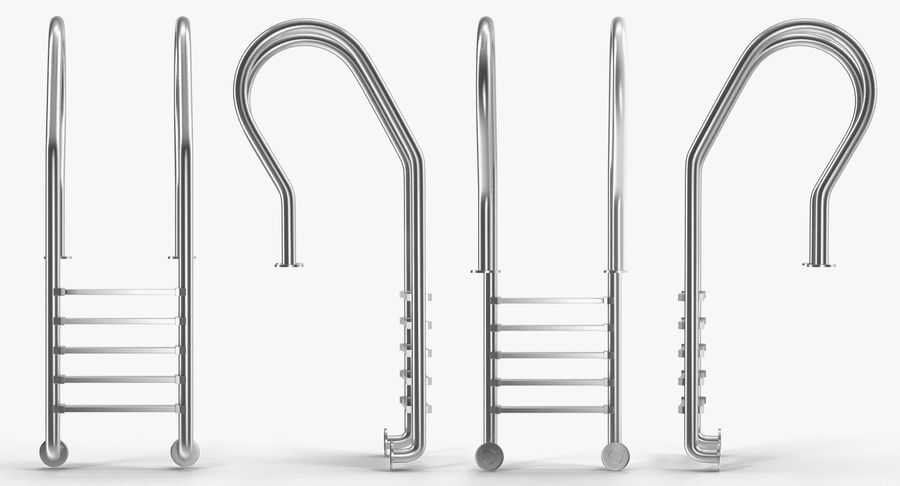 Steel Swimming Pool Ladder royalty-free 3d model - Preview no. 3