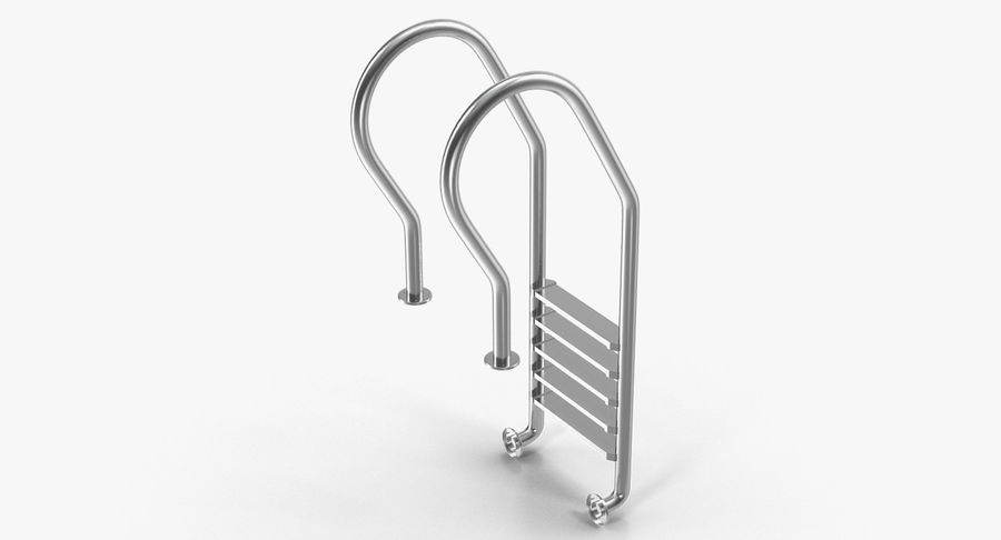 Steel Swimming Pool Ladder royalty-free 3d model - Preview no. 2