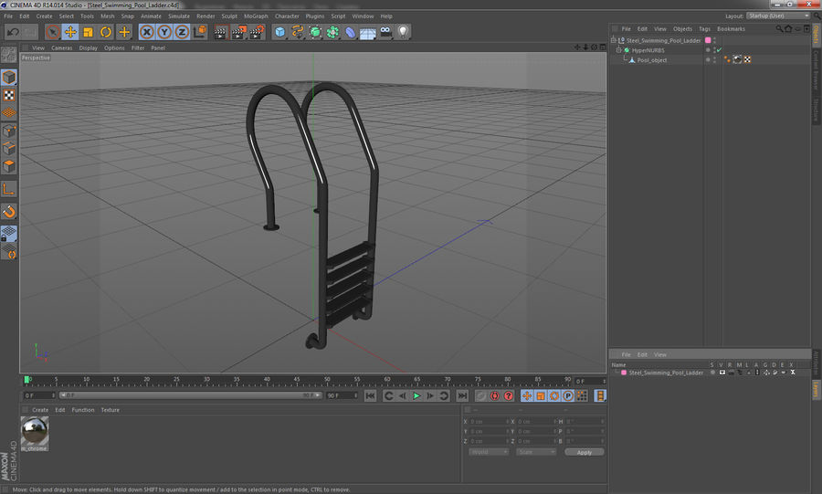 Steel Swimming Pool Ladder royalty-free 3d model - Preview no. 11