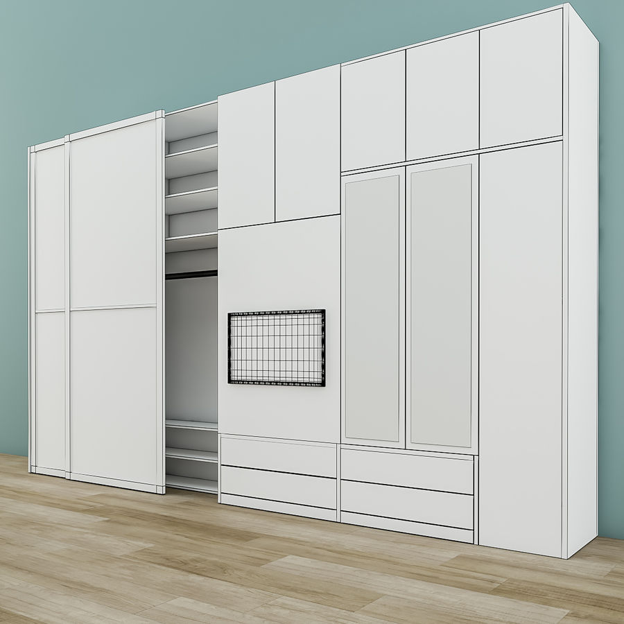 Muebles de dormitorio royalty-free modelo 3d - Preview no. 8
