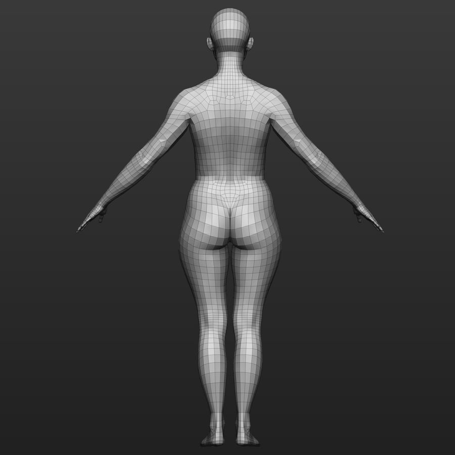 Base mesh female body royalty-free 3d model - Preview no. 4