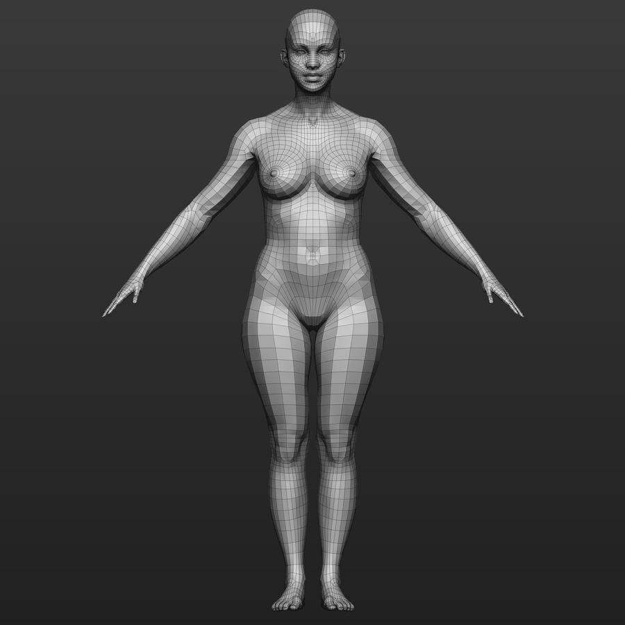 Base mesh female body royalty-free 3d model - Preview no. 2