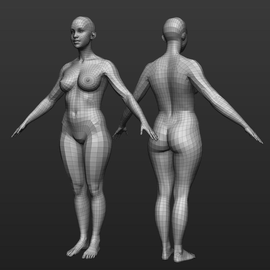 Base mesh female body royalty-free 3d model - Preview no. 1
