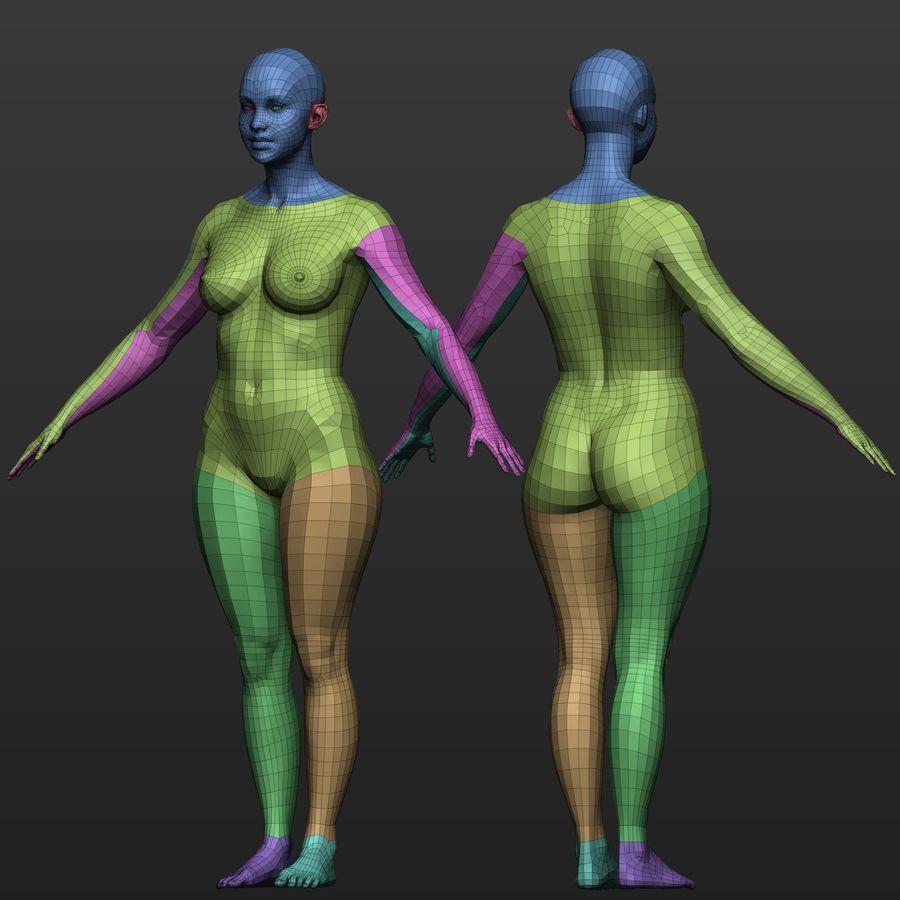 Base mesh female body royalty-free 3d model - Preview no. 9