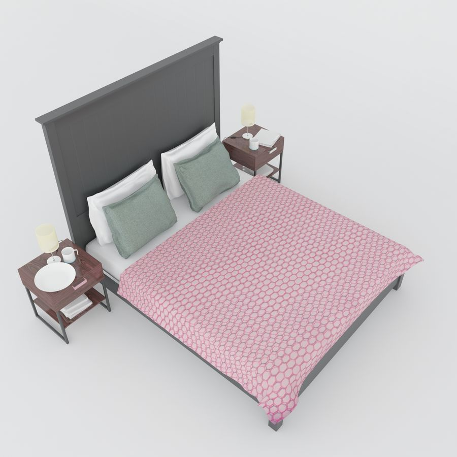 Ikea bed royalty-free 3d model - Preview no. 5