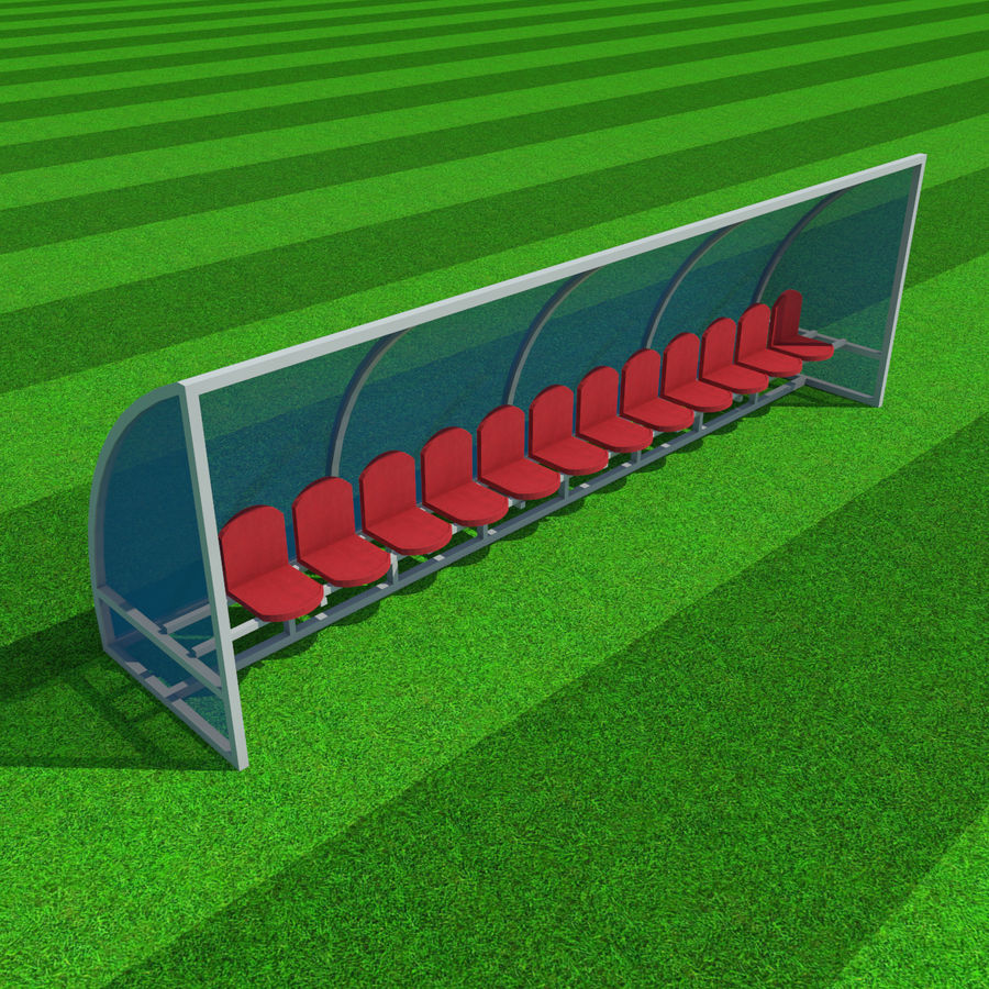 Fotbollsreservbänk royalty-free 3d model - Preview no. 3