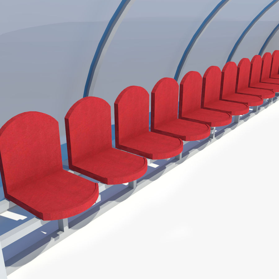 Soccer Reserve Bench royalty-free 3d model - Preview no. 8