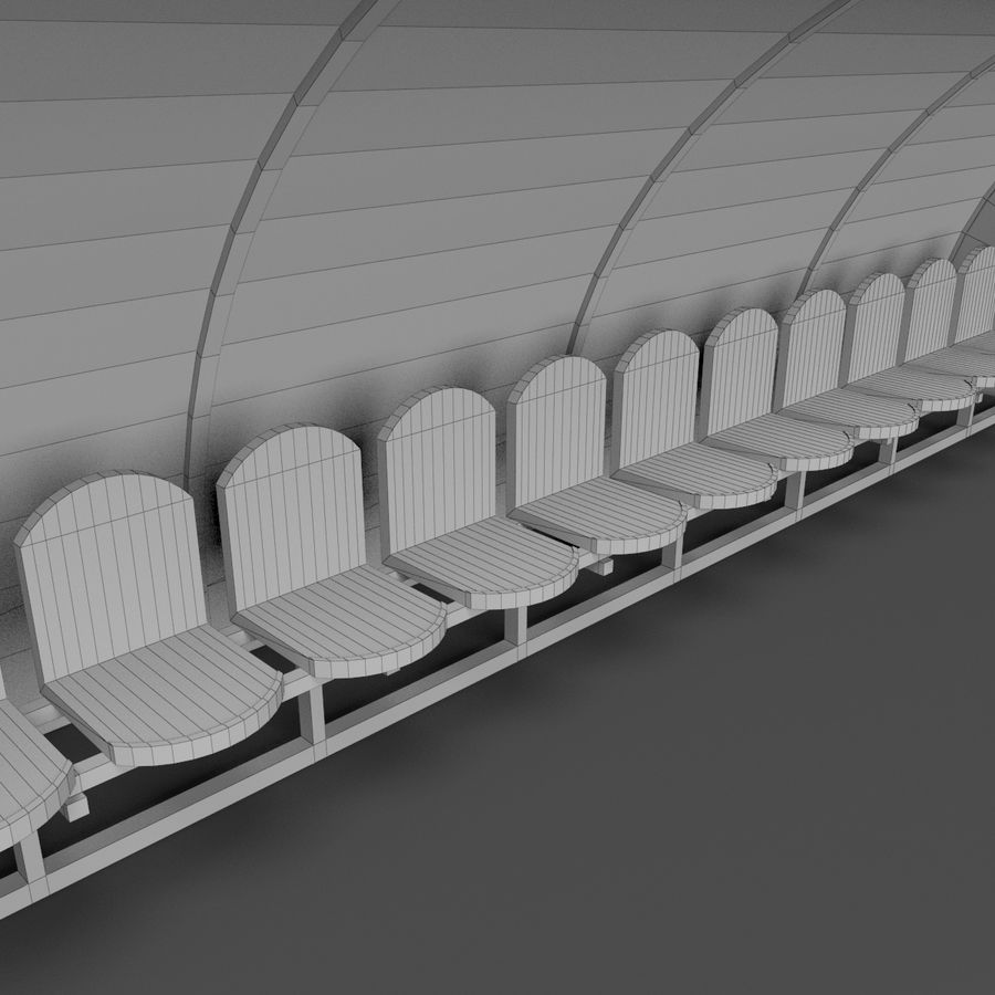 Soccer Reserve Bench royalty-free 3d model - Preview no. 12