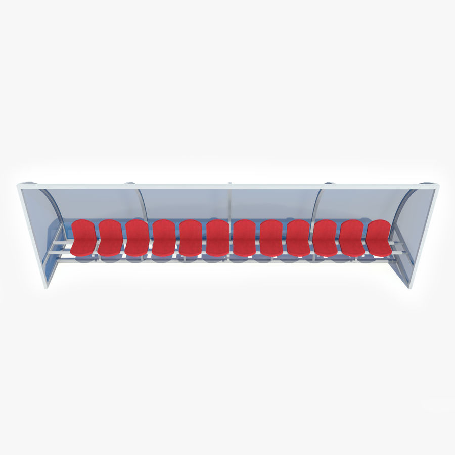 Soccer Reserve Bench royalty-free 3d model - Preview no. 9