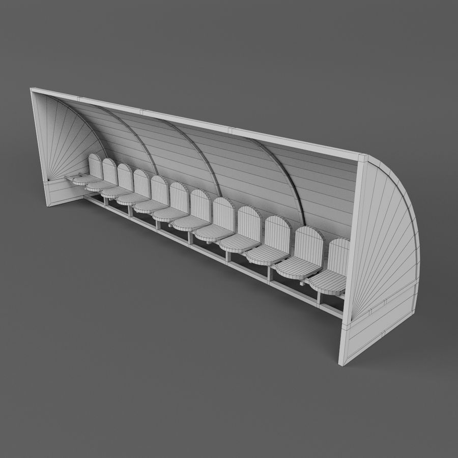 Soccer Reserve Bench royalty-free 3d model - Preview no. 13