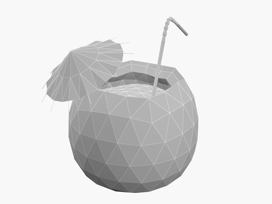 Kokosowy kreskówka koktajl royalty-free 3d model - Preview no. 6