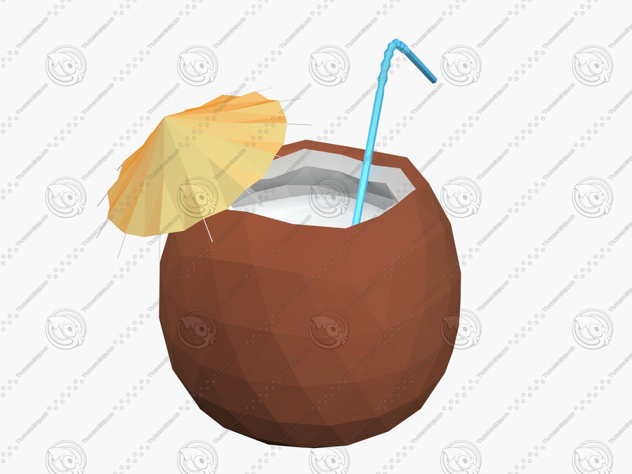 Kokosowy kreskówka koktajl royalty-free 3d model - Preview no. 5
