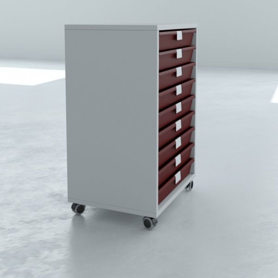 Narrow Lab Cart royalty-free 3d model - Preview no. 3